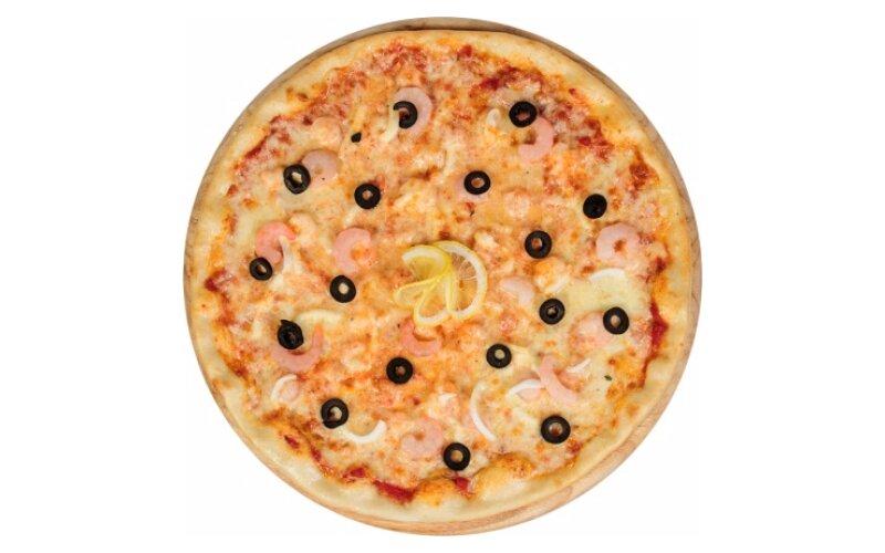 Пицца с кальмаром и креветками