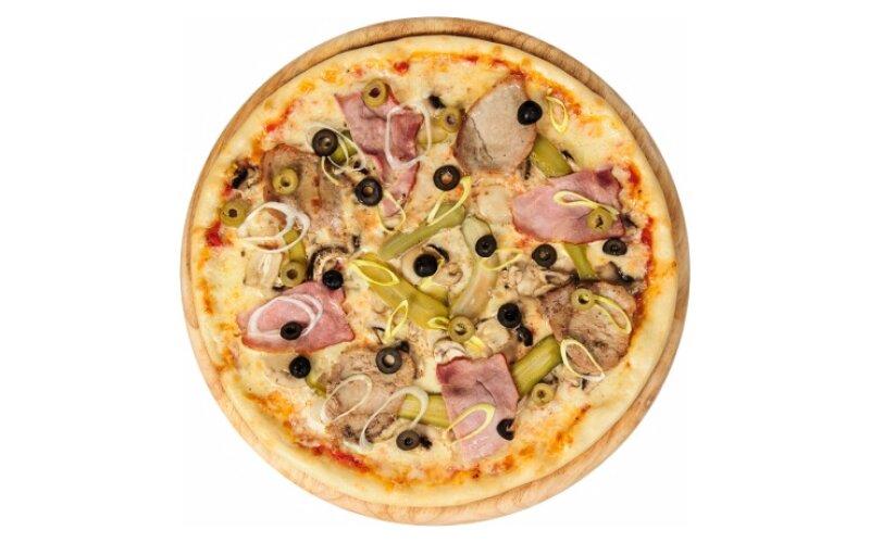 Пицца со свининой и шампиньонами