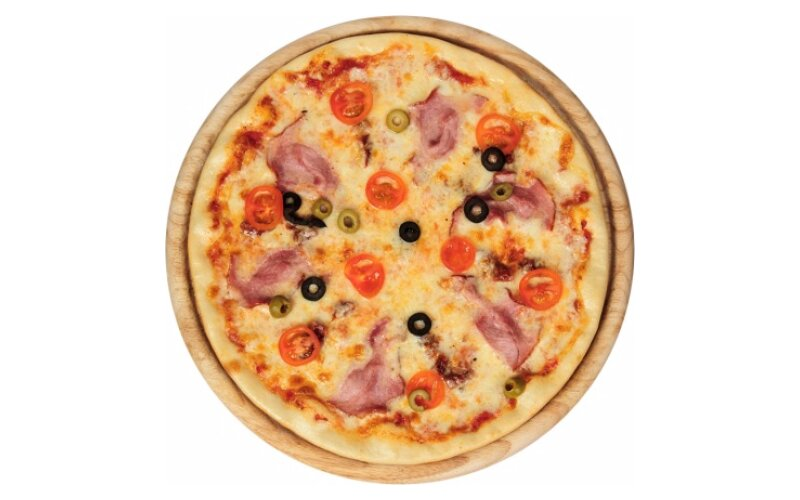 Пицца с ветчиной и помидорами