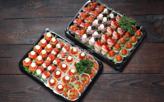 Ассорти № 1 «Канапе с мясом, рыбой и морепродуктами»