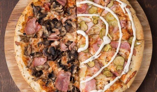 Пицца 50/50 «Сытная» + пицца с ветчиной и шампиньонами