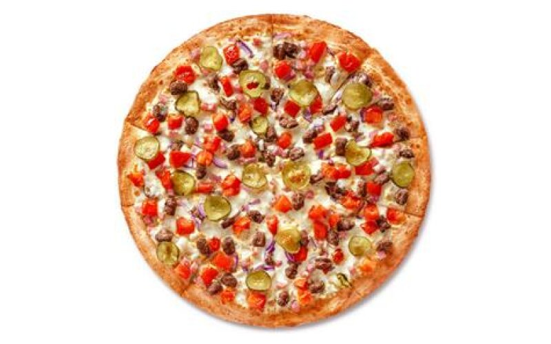 Чизбургер-пицца на тонком тесте
