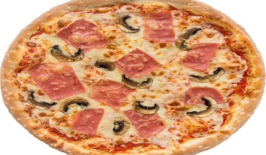 Пицца с грибами и ветчиной