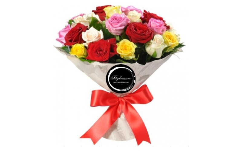 Букет «21 Разноцветная роза»