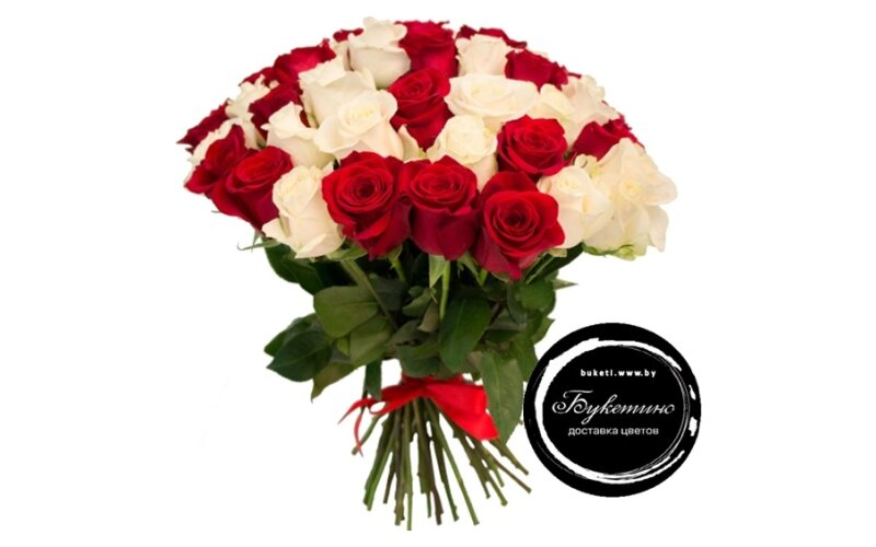 Букет « 51 Бело-красная роза»