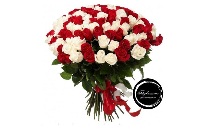 Букет «101 Бело-Красная роза»