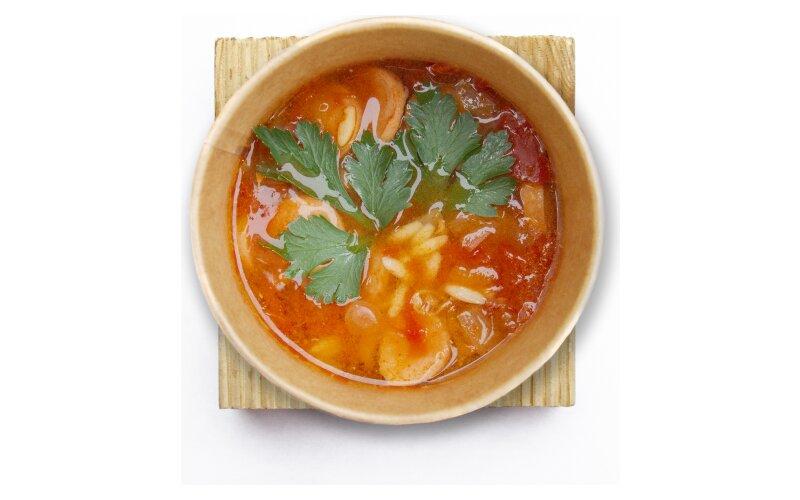 Итальянский суп с пастой «Орзо» и сосисками