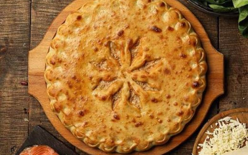 Пирог с сёмгой и шпинатом