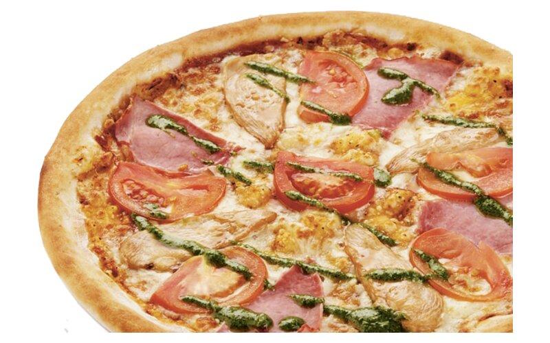 Пицца цыпленок с соусом «Песто» (на тонком тесте)