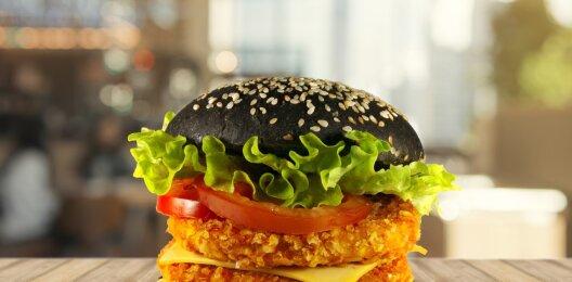 Black burger с двойной куриной котлетой