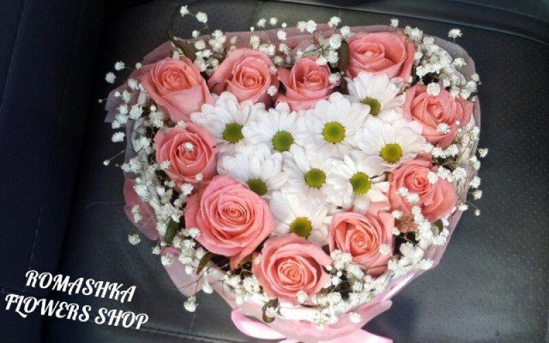 Цветочная коробка «Розовое сердце»
