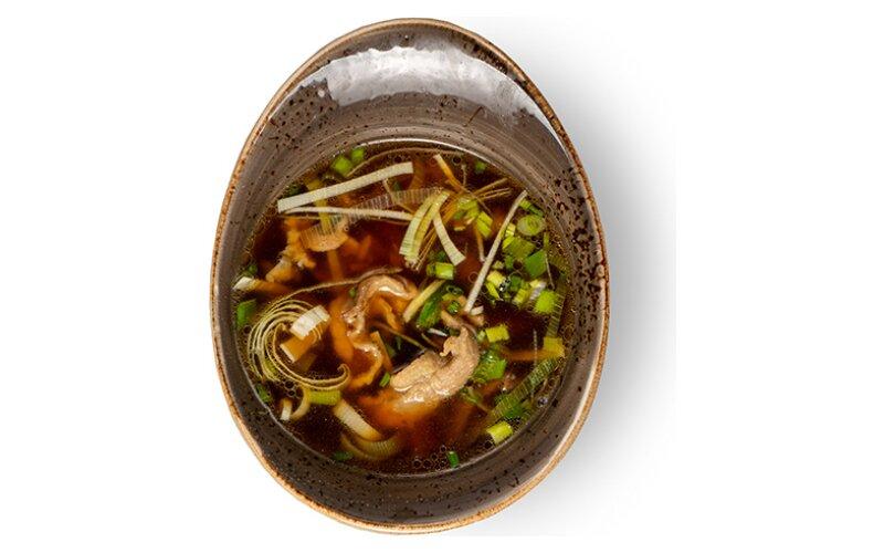 Суп с уткой и грибами шиитаке