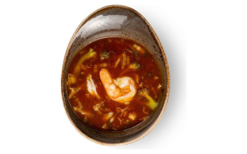 Суп «Том Ям» с тигровыми креветками