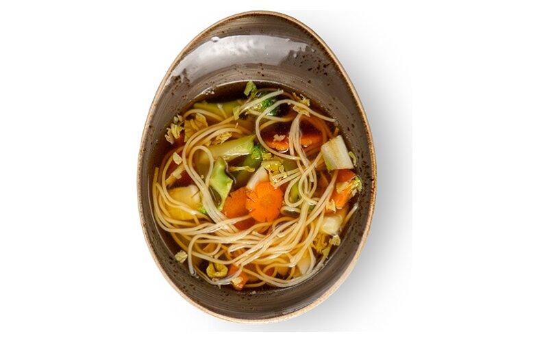 Суп куриный с лапшой и грибами шиитаке