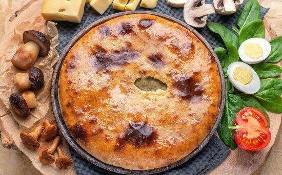 Пирог с грибами ияйцом