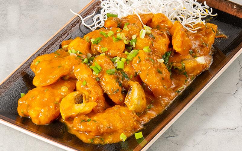 Морской окунь в тайском карри соусе