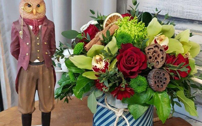Коробка с цветами для мужчины