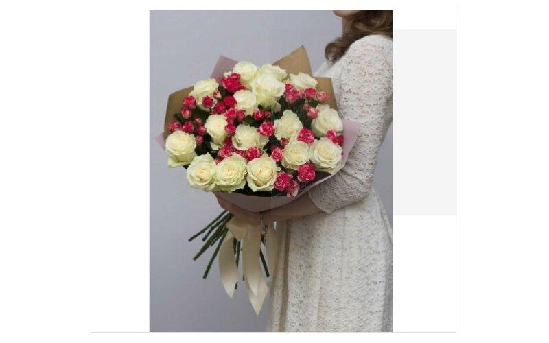 Большой Букет С Кустовым Розами