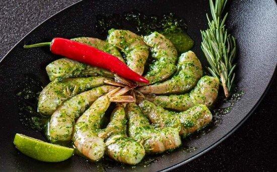 Креветки в соусе «Зелёные острова»