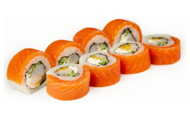 Ролл с копчёным лососем и креветкой