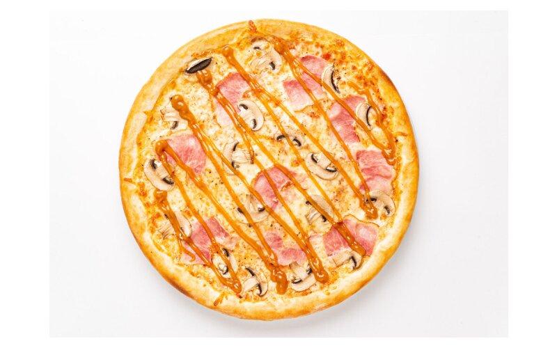 Пицца «Ветчина-грибы» с соусом «Карри»