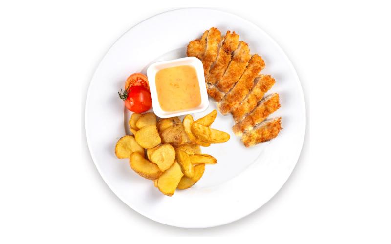 Шницель с картофелем «По-деревенски»