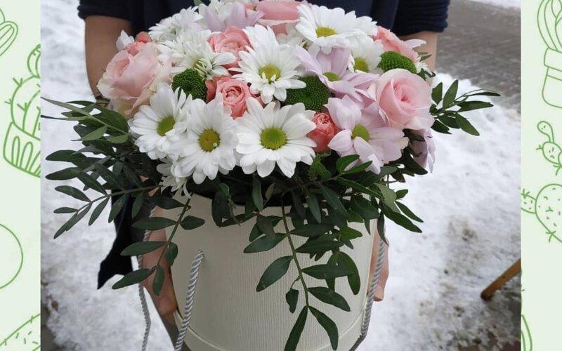 Коробка с розами «Розовое облако»