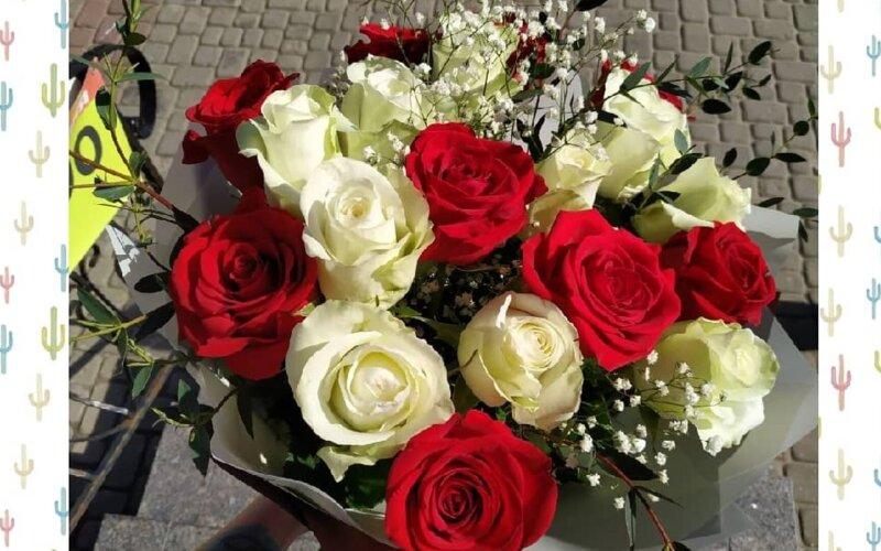 Букет из красно-белых роз «Идилия»