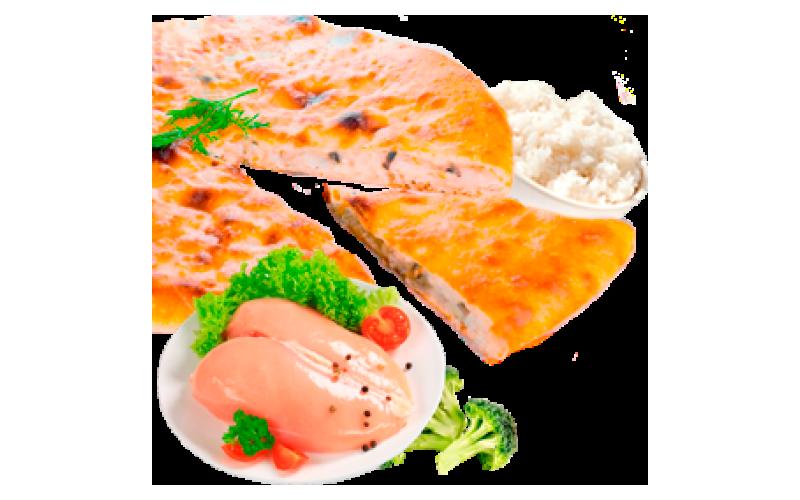 Осетинский пирог с курицей, брокколи и рисом