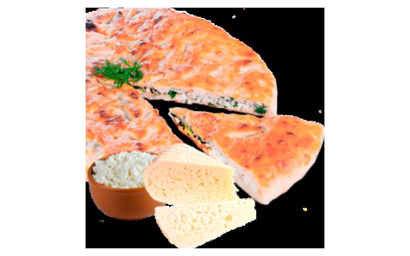 Осетинский пирог с сыром, творогом и зеленью