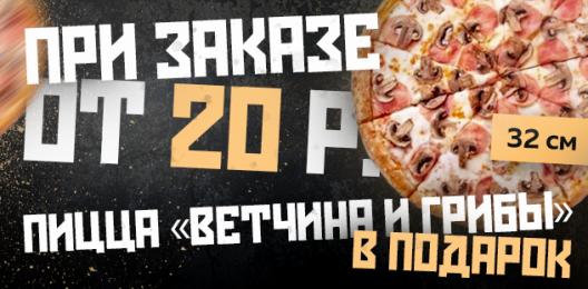 Пицца в подарок от 20 руб