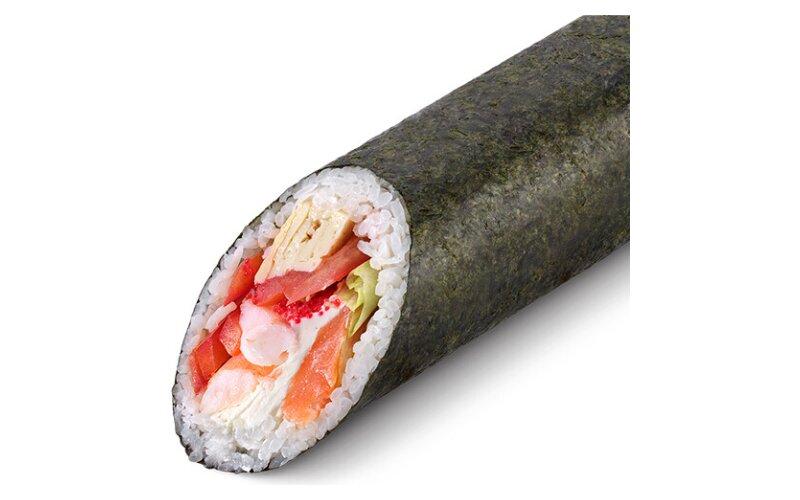 Суширрито с креветкой и копчёным лососем