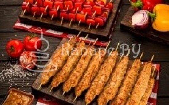 Мини-шашлык люля-кебаб из курицы с овощами