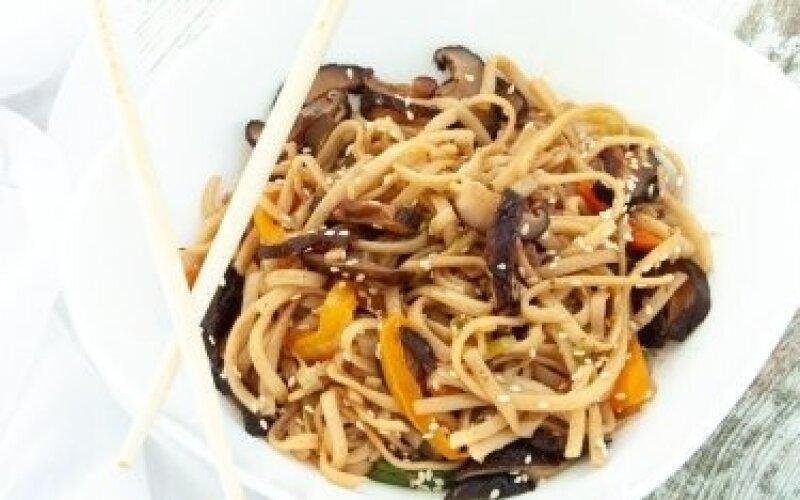 WOK с рисовой лапшой и грибами шиитаке