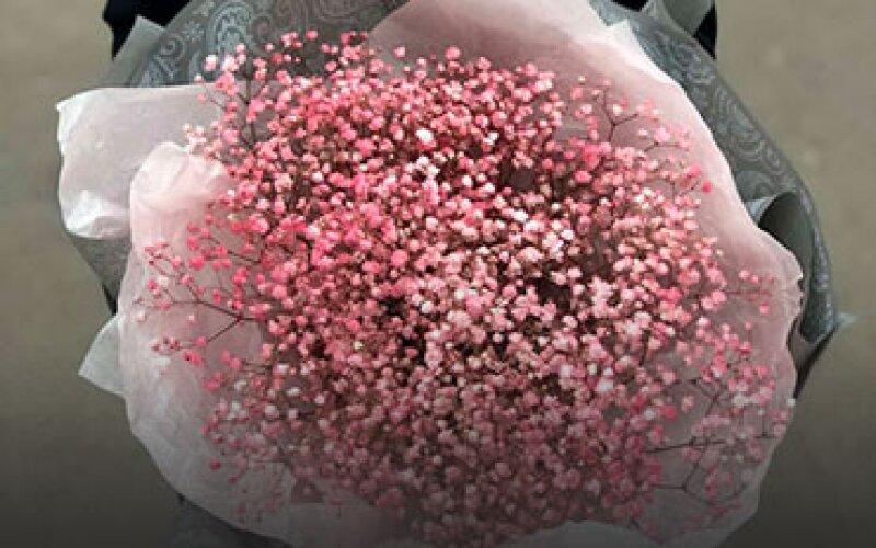 Букет из розовой гипсофилы с упаковкой (9 веток)