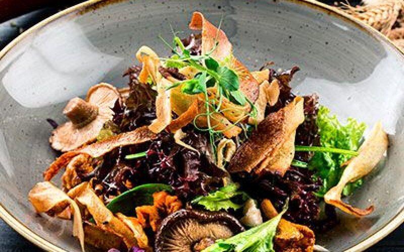 Сезонные грибы с трюфельным соусом