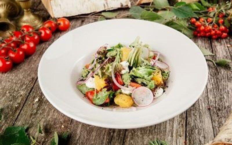 Салат с тыквой и печеным баклажаном