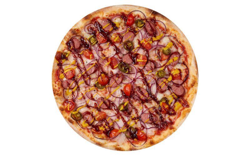 Пицца с копчёными колбасками и пышным краем