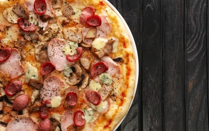 Пицца  «Мясная  с сыром Дорблю»
